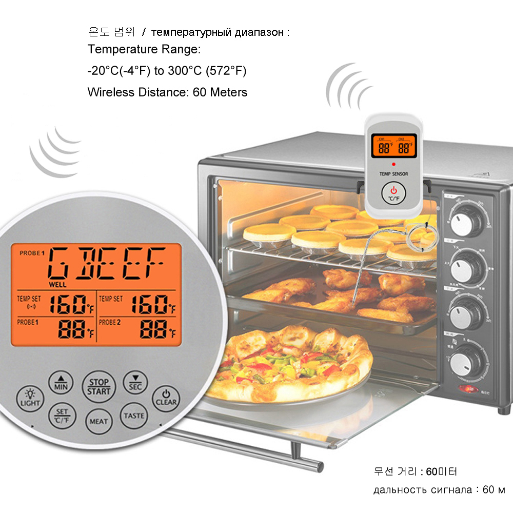 Digital Wireless Food Thermometer for Cooked Food and Grilled Meat with Timer and Temperature Alarm 14