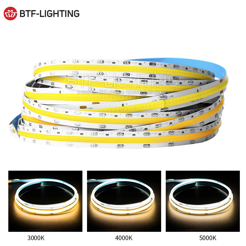 FOB Flexible High Density LED Strip 378/420/504 LEDs/m Red/Green/Blue/Yellow/WW/NW/CW Dimmable COB Linear Light Ribbon 12V 24V