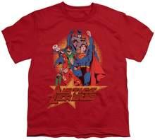 Los jóvenes de la Liga de la justicia de América levantar el puño niños T camisa talla Yxl