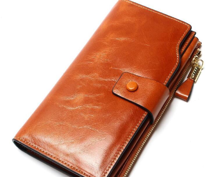Wax, Long, Genuine, Women, Wallet, Card