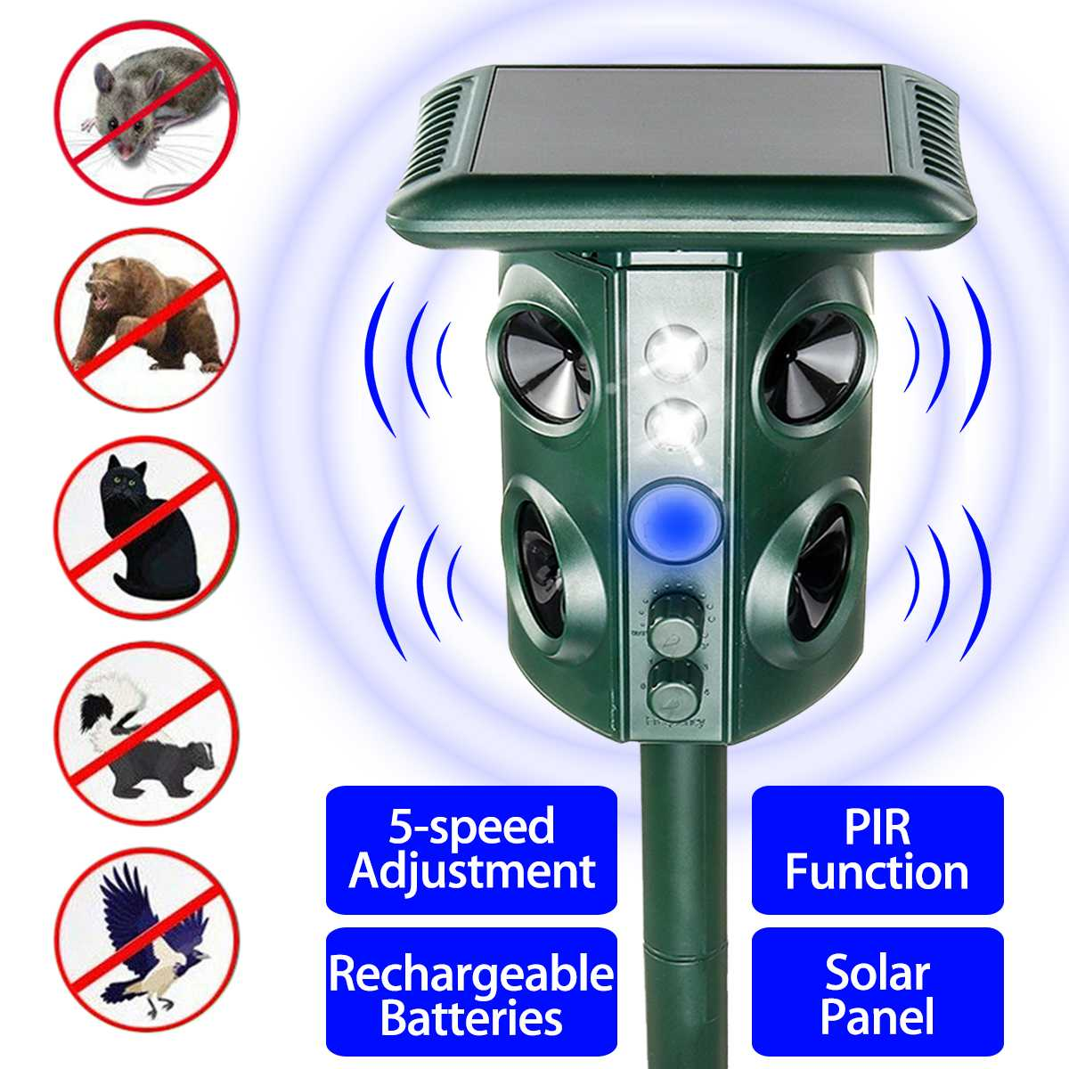 Repellent Waterproof Electronic Ultrasonic Solar Pest Repeller Garden Yard Repellent Pest Control Dog Bird Mosquito Repeller