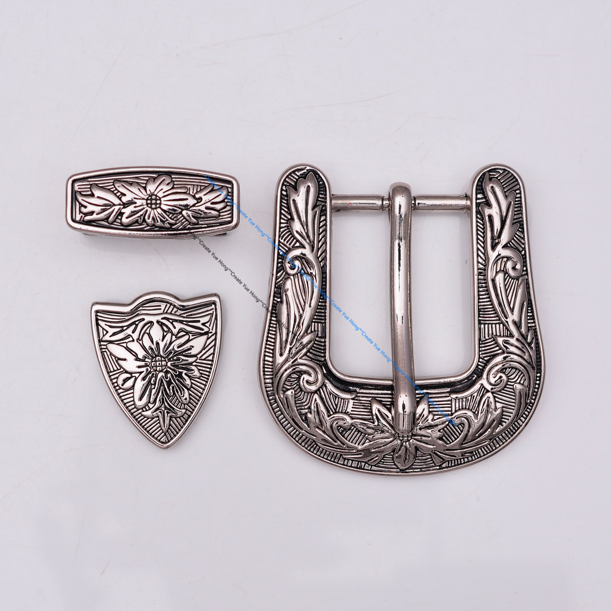 Western Cowboy Cowgirl Rodeo 3PCS Set Silver Floral Engraved Leather Belt Buckle Fit 1