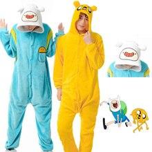 Anime Adventure Time Onesies Costume Jack Dog FINN Cosplay Pajamas Pyjama Warm Yellow Flannel Adult Unisex Halloween Costume