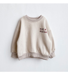 Children's western style Korean fleece tide clothes 2020 new winter clothes girls baby thickened plus velvet letters cotton swea