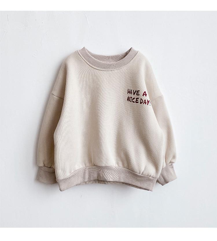 Estilo ocidental das crianças coreano fleece maré roupas 2020 novas roupas de inverno meninas do bebê engrossado mais letras veludo algodão swea Camiseta    -