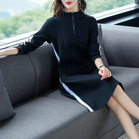 Plus Size 2019 New Autumn Women dress Micro Fat Younger Sister Brim Hidlly Meat Reduction Age Fleece Dresses 3108