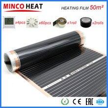 50M2 110 W/M Lontano Infrarosso di Riscaldamento a Pavimento Film di 50cm x 100m Con Accessori AC220V Superficie Temperatura 40 50 gradi C