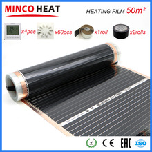 Film chauffant au sol à infrarouge lointain, 50 m2, 110 W/M, 50cm x 100m, avec accessoires, température de Surface 40 50 degrés C