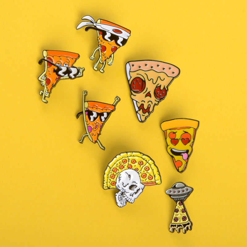 Busirde Femmes Cartoon Pizza Animaux /Émail Parti Broche Robe Sac Pizza Animal Broche Ornement V/êtements Pins Badge