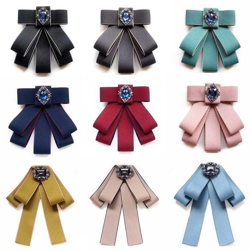 Menyesuaikan Band Vintage College Houndstooth Lolita Sandang Besar Dasi Bros untuk Wanita Fashion Kemeja Korsase Perhiasan Aksesoris