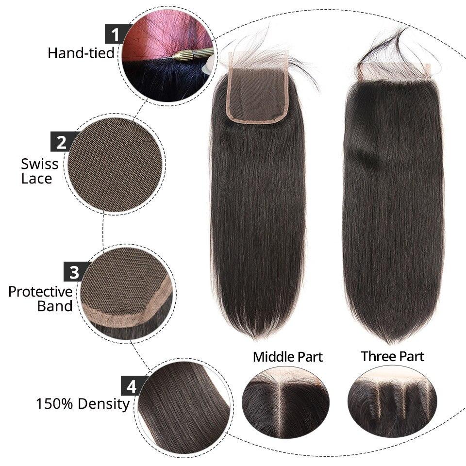 H94208585d0704307ac941d5f784ad3e4g AliPearl Hair 100% Human Hair Bundles With Closure Brazilian Straight Hair Weave 3 Bundles Natural Black Remy Hair Extensions