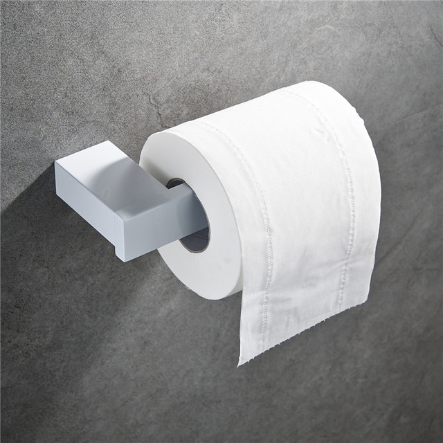 SUS 304 Stainless Steel White Toilet Paper Holder Toilet Roll Paper Rack Tissue Holder Bathroom Paper