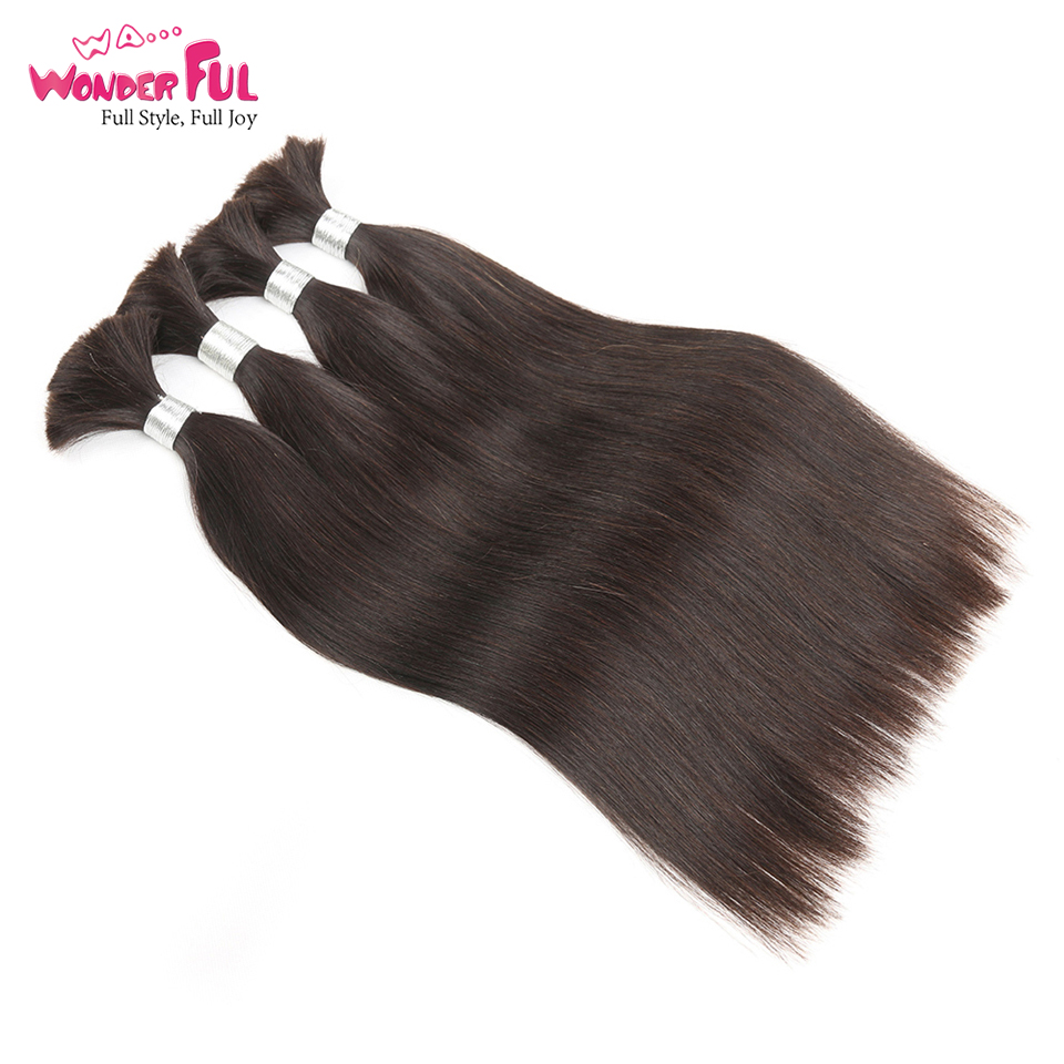 Brazilian Remy Straight Bulk Human Hair For Braiding 1 Bundle Free Shipping 10 To 30 Inch Natural Color Hair Extensions