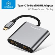 Hagibis USB C HDMI מתאם סוג C כדי HDMI 4K הכפול HDMI עבור MacBook Samsung Galaxy S9/S8 huawei Mate 20/P20 פרו USB C כדי HDMI