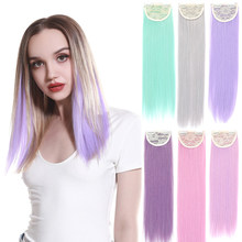 Coloridos Fios de Ins Clipe Sintético Em Extensões de Cabelo Hairpiece Falso Falso Natural Reta Longa Rosa Azul Curto Para As Mulheres Crianças