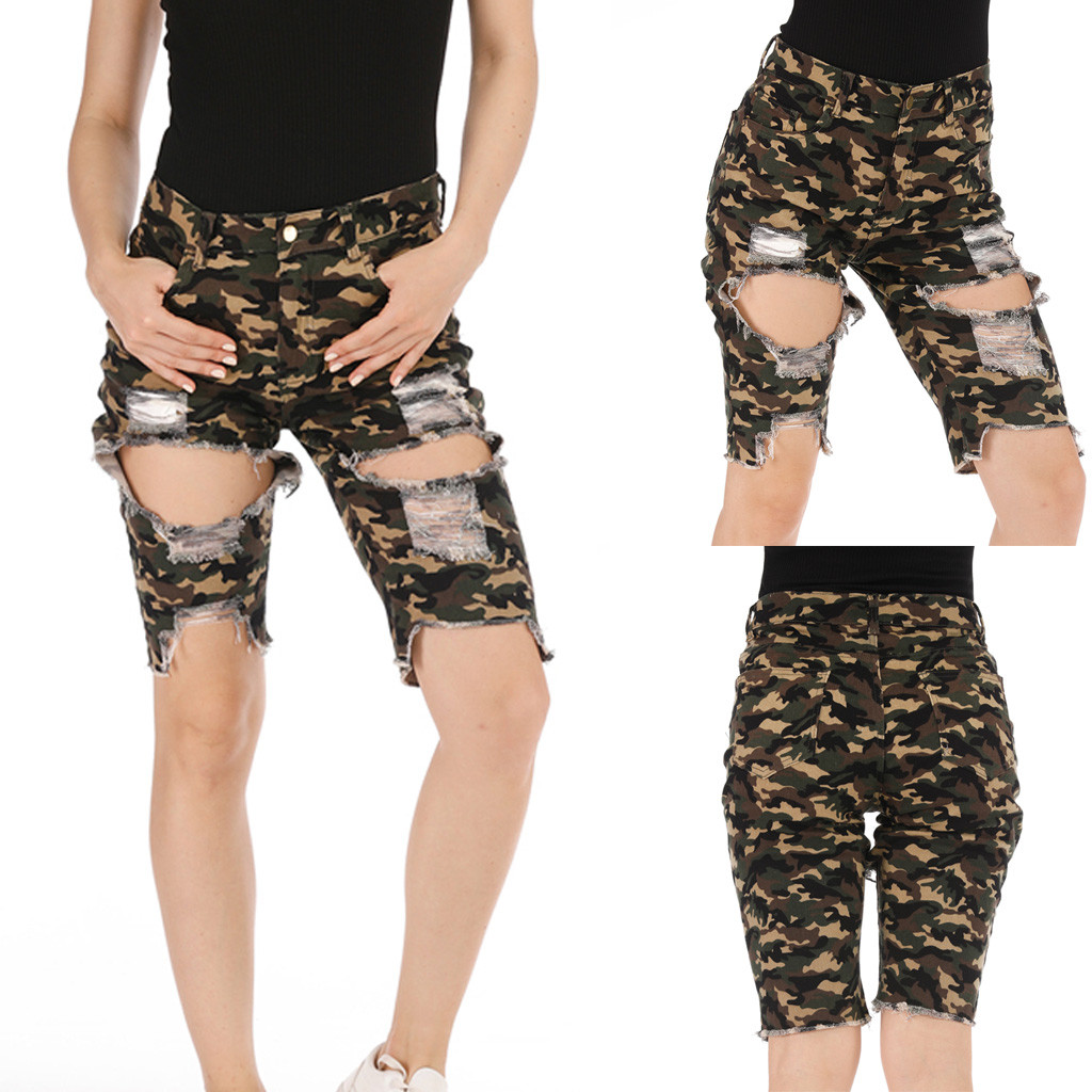 Hawcoar Jeans Women Fashion Skinny Mid-Waisted Camouflage Pocket Pants Hole Denim Shorts Wholesale Free Ship джинсы женские Z4