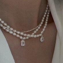 MENGJIQIAO 2021 Japan Elegante Süßwasser Perle Choker Für Frauen Mädchen Mode Sqaure Kristall Hochzeit Halskette Schmuck Colares