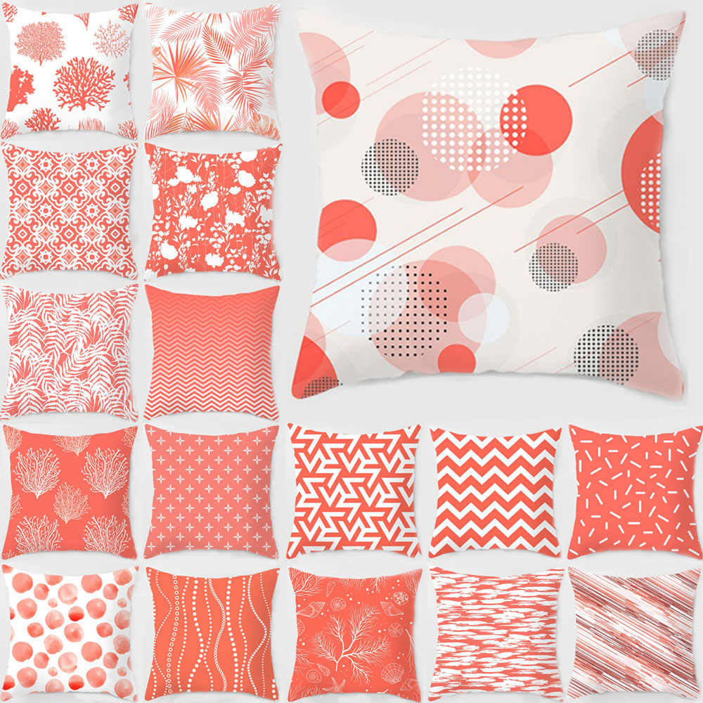 18 modern simple coral color pillow case sofa car seat cushion cover home living room square peach skin decorative pillowcases