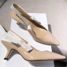Fashion High heeled sandals Gladiator Leather Pointed shoes sexy Designer luxury