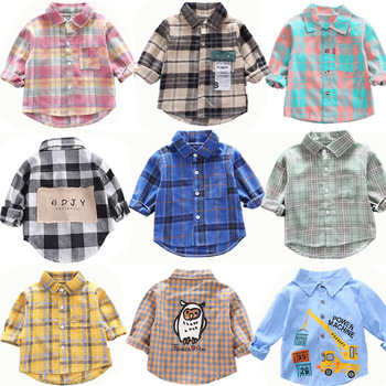 Spring Toddler Boys Shirts Kids Long Sleeve Plaid Casual Shirts Fashion Girls Fall Clothes Children Quality Cotton Tops 18M-7Y kids baby boys clothes casual cotton children clothing for kids boys shirts fashion new spring plaid long sleeve shirts for boys