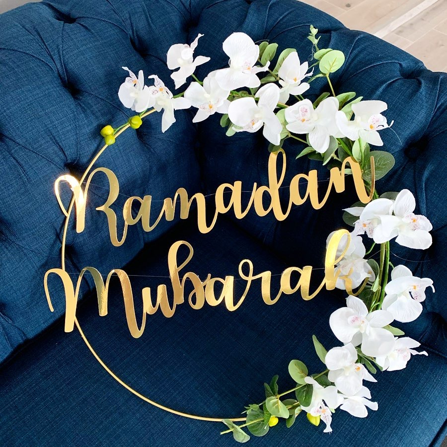 DIY Iron Wreath Metal Ring Craft Ramadam Mubarak Banner Balloons For Eid Mubarak Ramadan Muslim Event Party Decoration