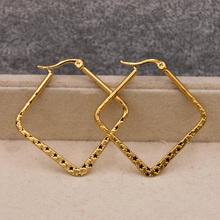 Modne modne kolczyki dla kobiet kolczyki pokryte złotem złoty kwadrat kolczyki hoop kolczyki biżuteria ślubna na prezent akcesoria tanie tanio RLOPAY CN (pochodzenie) Miedziane Kobiety Other TRENDY SQUARE Akrylowe Copper Gold
