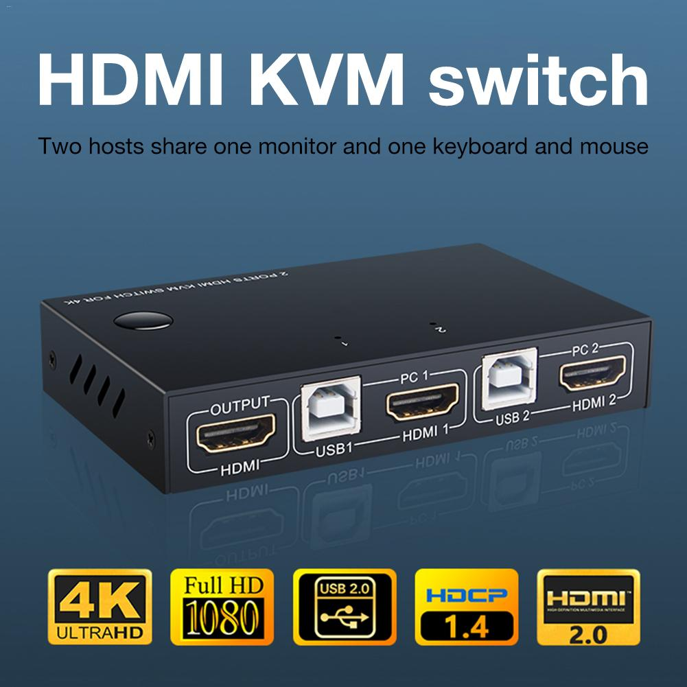 HDMI KVM Switch 2 Port 4K USB Switch KVM VGA Switcher Splitter Box For Sharing Printer Keyboard Mouse KVM Switch HDMI CGA