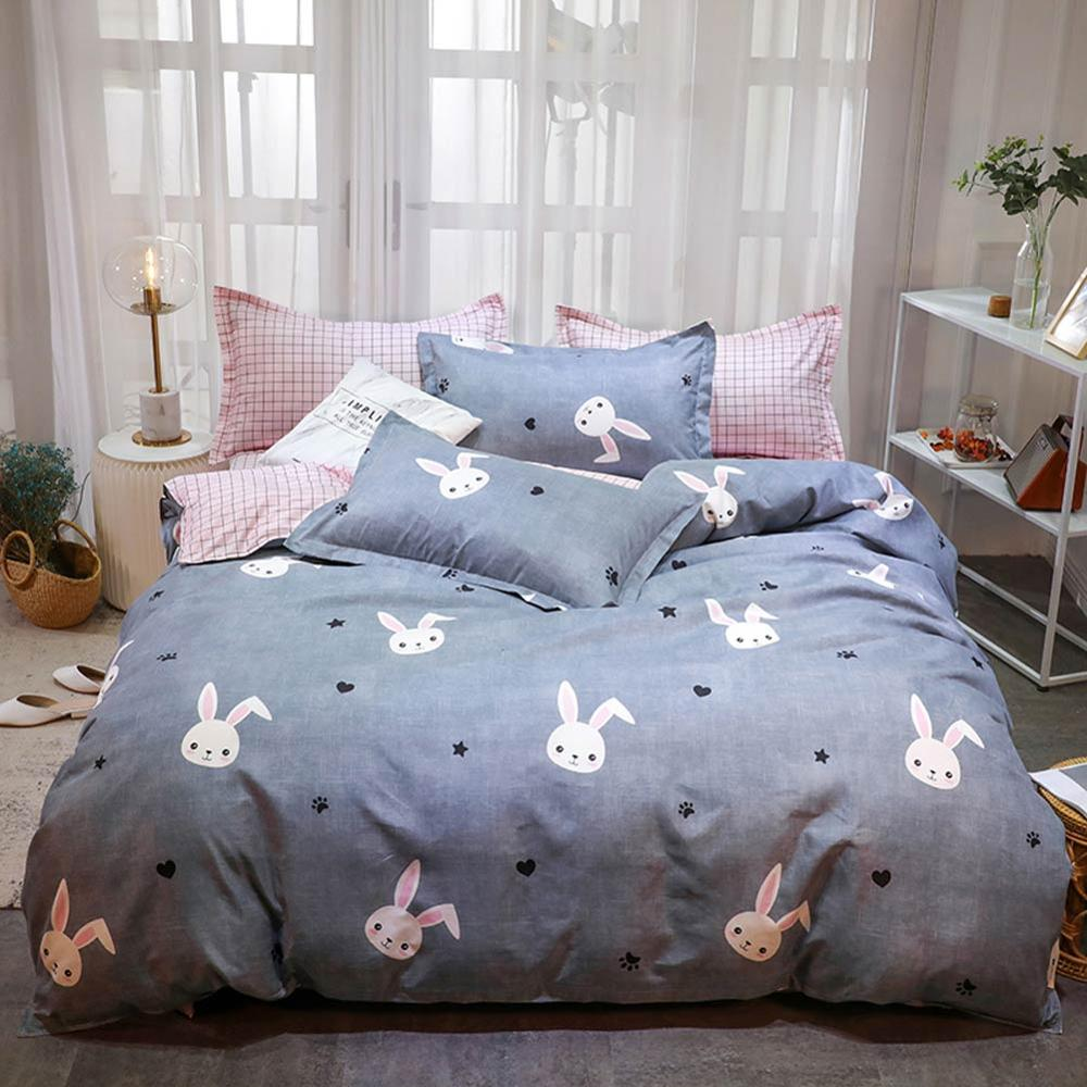 Grey Bunny Rabbits Bedding Set Cotton Microfiber Polyester Bedlinens Twin Full Queen King Size Duvet Cover Set Pillow Cases