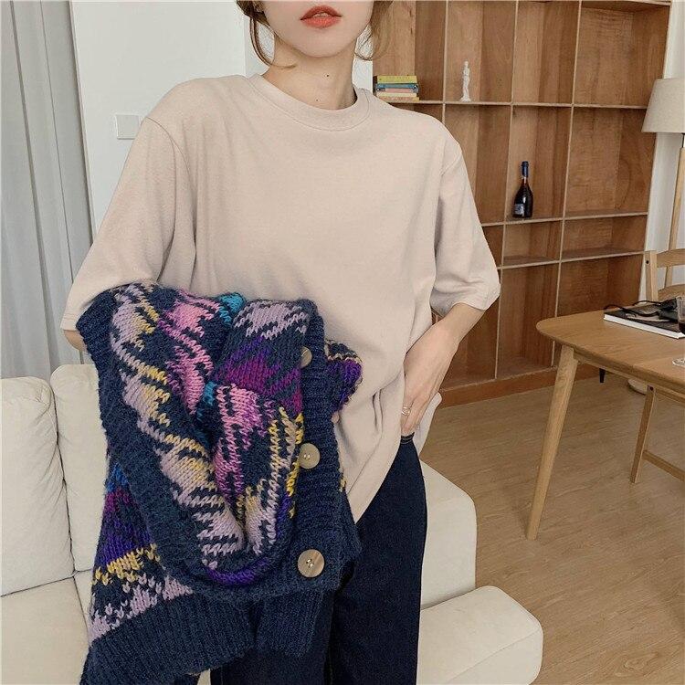 H94215c69a475425a838452615c33eadfg - Summer O-Neck Short Sleeves Cotton Basic Solid T-Shirt