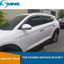 צד חלון Deflectors שחור צבע רכב רוח הטית שמש משמר עבור יונדאי סנטה פה 2012 2013 2014 2015 2016 2017 SUNZ