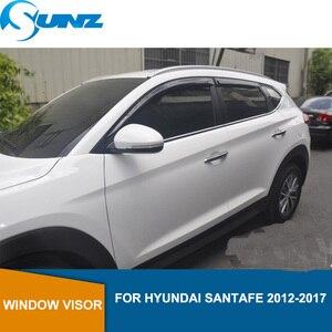 Image 1 - Side Window Deflectors Black  Color Car Wind Deflector Sun Guard For HYUNDAI SANTA FE 2012 2013 2014 2015 2016 2017 SUNZ