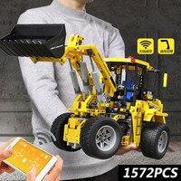 Technic 1572PCS Remote control Engineering Wheel Loader Bulldozer model building block children assemble brick toy