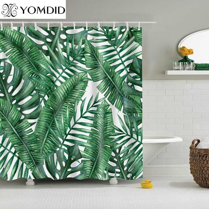 สีเขียวพืชเขตร้อนผ้าม่านห้องน้ำกันน้ำผ้าม่านอาบน้ำโพลีเอสเตอร์ใบการพิมพ์ผ้าม่านสำหรับ...
