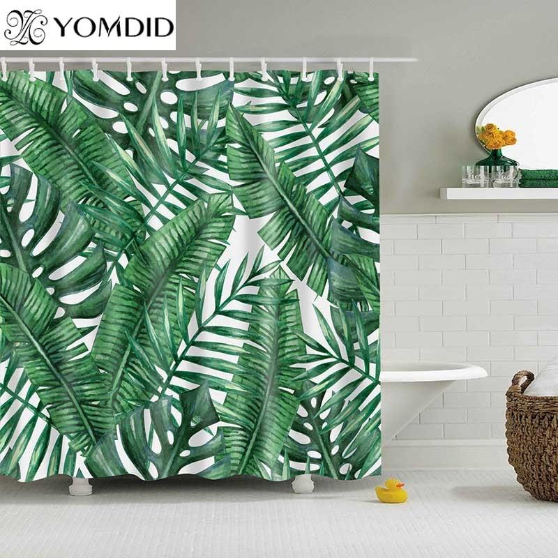 グリーン熱帯植物シャワーカーテン浴室防水ポリエステルシャワーカーテン葉印刷カーテン浴室のシャワー