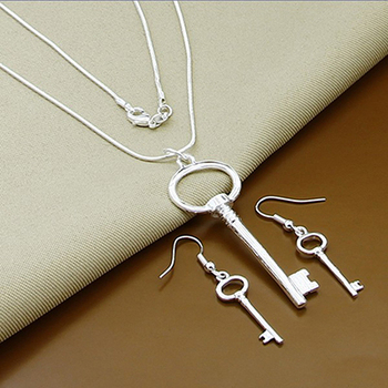 Νέα γυναικεία μοντέρνα κοσμήματα 925 Sterling Silver Κολιέ Κοσμήματα Σκουλαρίκια Αξεσουάρ MSOW