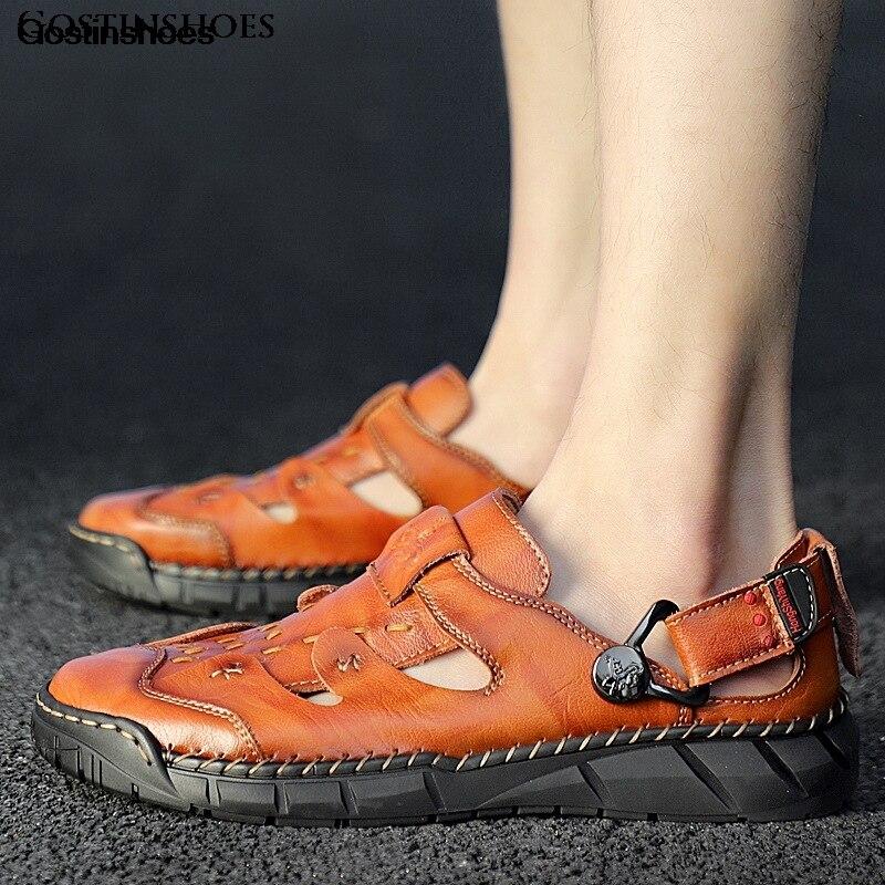 Sandalias de cuero para hombre, sandalias de cuero genuino para hombre, calzado deportivo informal con punta cerrada, sandalias de moda para hombre Zapatos KATELVADI, sandalias de gladiador negras para mujer, sandalias de verano para mujer, Sandalias de tacón alto de 8CM con correa en el tobillo, sandalias para mujer, K-317