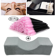 Descanso de extensão de cílios profissional encosto de cabeça pescoço apoio lash travesseiros e aplicador de microbrush suavemente remendo para os olhos para maquiagem