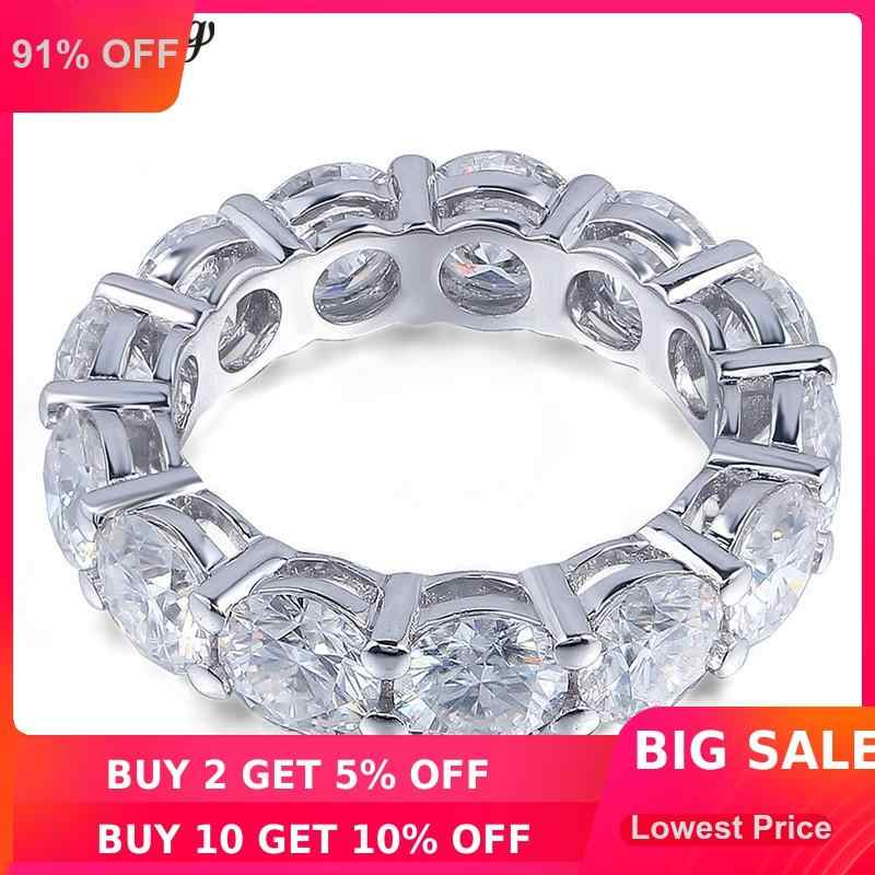 Choucong Eternity แหวนรอบ 6 มม.5A Zircon Sona CZ 925 เงินสเตอร์ลิงแหวนหมั้นแหวนผู้หญิงผู้ชายเครื่องประดับ Fine