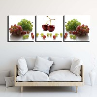 3 Pieces Wall Art Canvas Fashion Posters HD Prints Paintings Modern Cherry Fruit Pictures for Living Room
