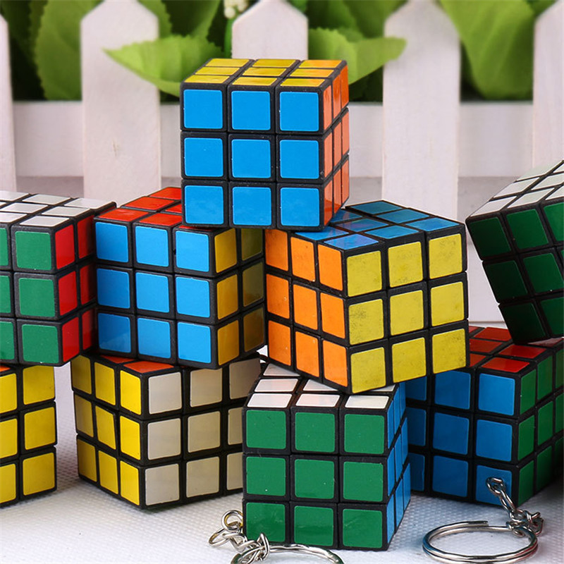 Music Party 3CM Keychain Rubik's Cube] OPP Paperback PVC Sticker ABS Raw Material 3.0 Rubik's Cube Pendant High Quality