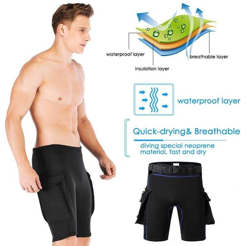 Heren Vrouwen Verstelbare 2MM Neopreen Duiken Shorts Badpak Warm Surfen Wetsuit Korte Broek met Zakken Scuba Zwembroek