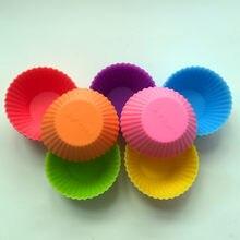 Molde de silicona para pastel, Color redondo, 7CM, molde para magdalenas, molde para tartaleta de huevo, pudín, pastel, Mini molde para pastel