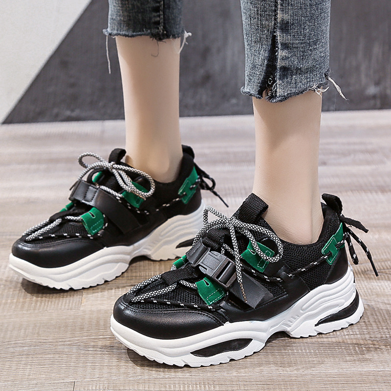 Large Size 36-42 Sneakers Female 2020 Spring Outdoor Running Shoes Ins Thick Bottom Increased Student Sports Shoes Female ZZ-329