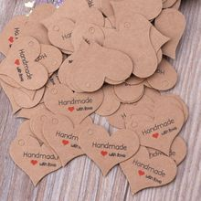 100Pcs Heart Shape Kraft Paper Hand Made Tag DIY Gift Box Tag Candy Cupcake Handmade Favors Name Brand Price Tag Jewelry