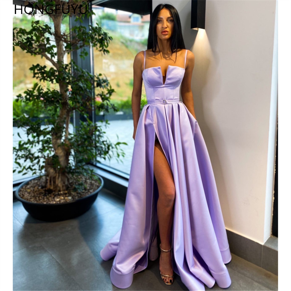 HONGFUYU Lilac A Line Prom Evening Dresses Side Slit Formal Party Gowns вечерние платья Satin suknie wieczorowe Floor Length