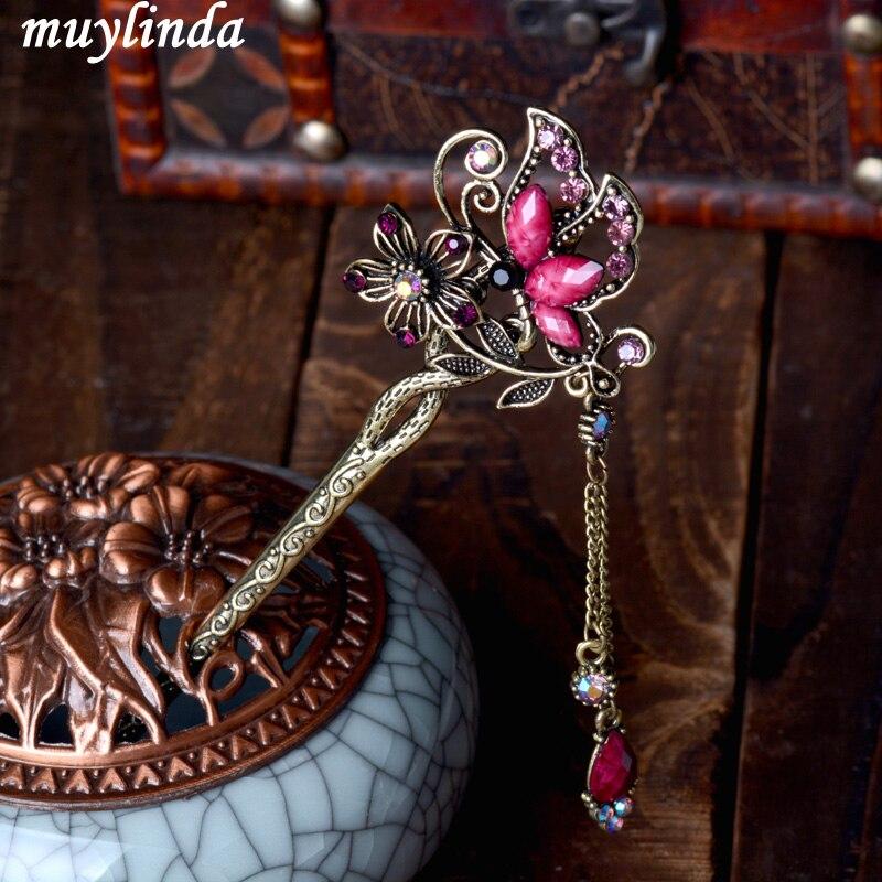 Vintage Rhinestone Butterfly Hair Stick Jewelry Wedding Hair Accessories Charm Metal Hairpins 2