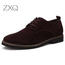 Мужские туфли оксфорды размера плюс 38-48, искусственная замша, кожа, весна-осень, повседневные мужские кожаные туфли, Мужские модельные туфли