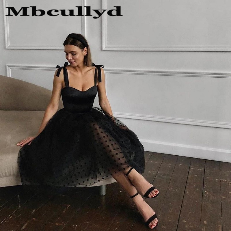 Mbcullyd Black Tulle Cocktail Dresses 2020 Short Knee Length Prom Party Dress Graduation Fancy vestido coctel mujer elegant