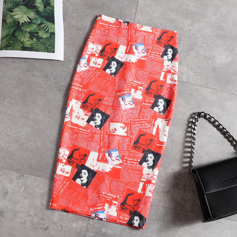Individual figure print-wrapped hip skirt stretch-open tight pencil skirt fall 2019 new one-step skirt half-length skirt image