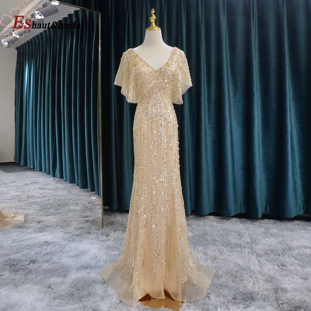 Elegant   Evening     Dress   for Women 2019 Gold Mermaid V neck Beads Handmade Long Formal Party Gowns